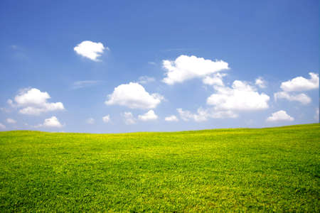 sunlit: green meadow with blue sky and cloud