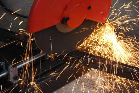 grinder machine: cutting steel with grinder machine close up