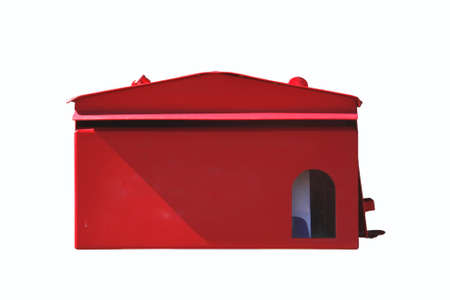 isolate of front red mail box with the letter in photo