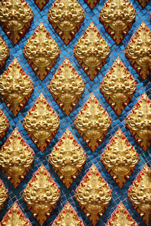 Thai pattern inside Thai temple, giant patter on blue glass background Stock Photo