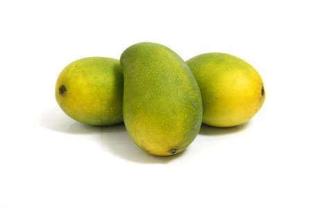 beautiful and appetizing of green-yellow mangoes on white background Stock Photo