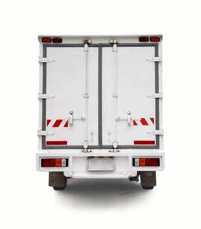 トラック コンテナー車の白の鋼製ドア