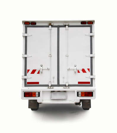 white steel door of car truck container photo