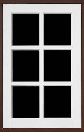 frame of wood window with white, brownd color and black backgrond photo