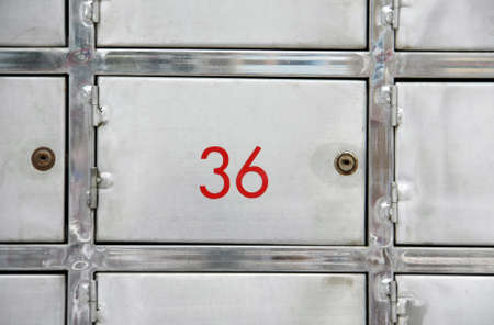 square of stainless steel lockers for safe and valuable thing photo