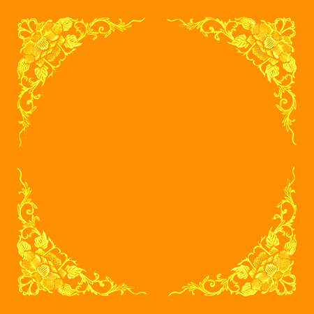 beautiful frame with floral pattern on orange background Stock Photo