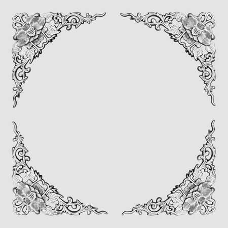 beautiful frame with floral pattern carving on white background photo