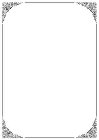 marcos decorativos: hermoso marco con la talla del estampado de flores sobre fondo blanco