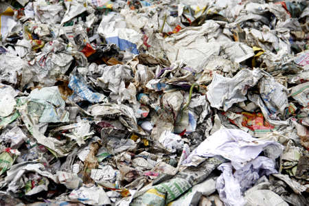 Midden of news paper waste for recycle