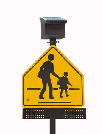 school traffic sign with Solar cells panel for Energy savings photo