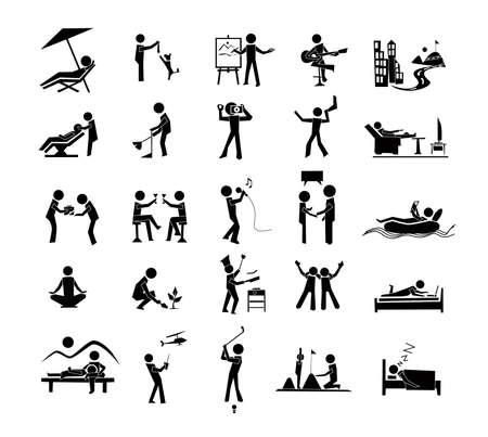 actividad: Icono actividades de ocio, descanso, relax,