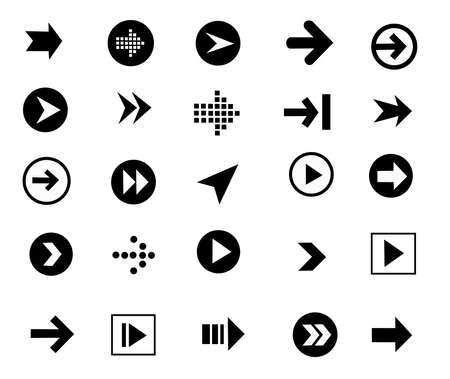 arrow sign icon set, simple shape, internet button and symbols on white background