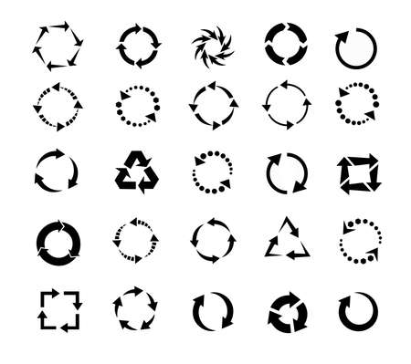 black arrows of pictogram refresh reload rotation loop, signs of recycling. vector set