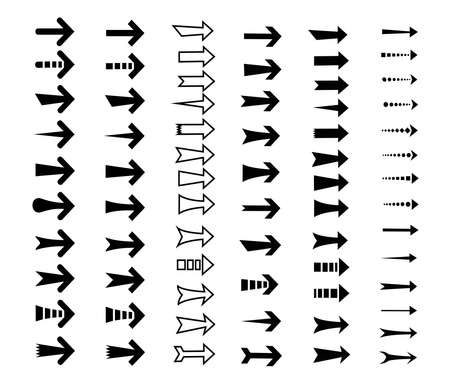 straight arrows icon set, various style, edge, curve, sharp and blunted on white background