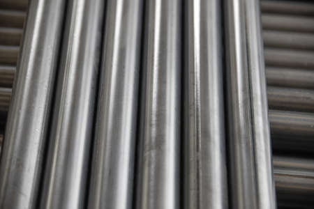 pipework: pipe, circle aluminium steel on cement floor