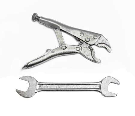 steel pliers and wrench for fix and useful on white background photo