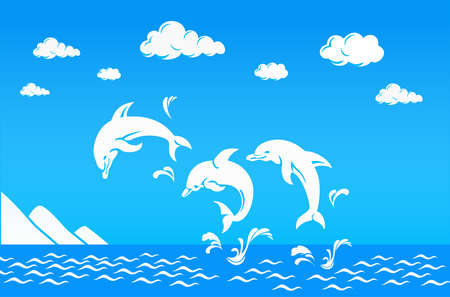 white dolphins jumping over the water sea with cloud and Iceberg Vector