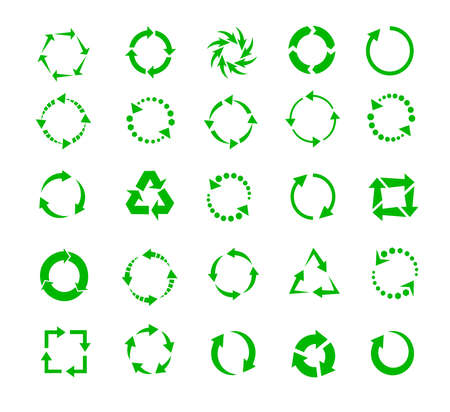 green circle arrows of pictogram refresh reload rotation loop recycling, signs-symbol set Ilustração