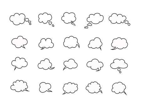 beautiful clouds speak bubbles set on white background, clouds speak icon. Ilustração