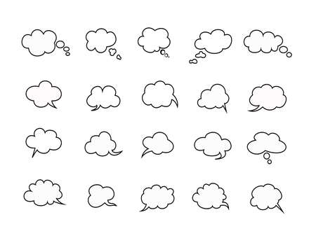 beautiful clouds speak bubbles set on white background, clouds speak icon. Stock Illustratie
