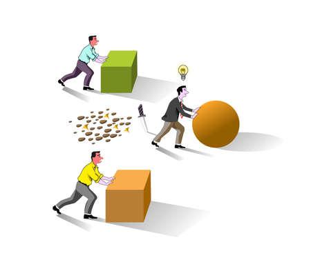 brain works, business man on brain works concept, good idea, easy work with brain.