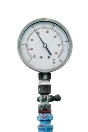 retro gauge, old meter water pipe on white background photo