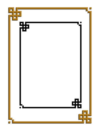 3D vector of beautiful golden frame chinese pattern for text and picture Stock Vector - 22783681