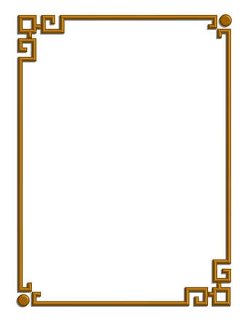 3D vector of beautiful golden frame chinese pattern for text and picture Reklamní fotografie - 22783682