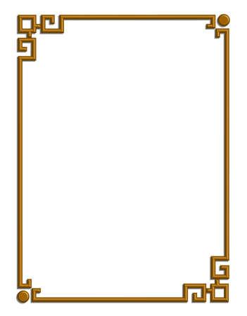 Vector 3D del patrón chino hermoso marco dorado para texto e imagen Foto de archivo - 22783682