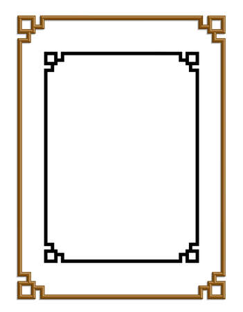 simple: 3D vector de marco patrón chino de oro para el texto y la imagen