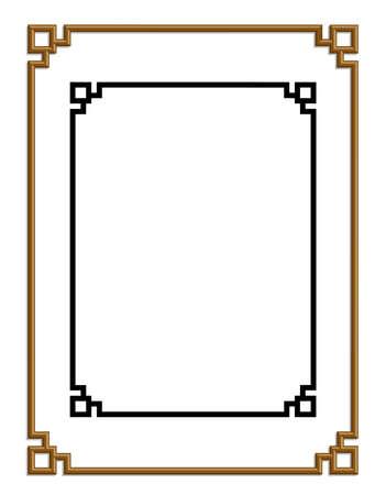 3D vector van mooie gouden frame chinese patroon voor tekst en beeld