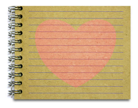 old notepad book paper with pink heart for text, love, concept and memo photo