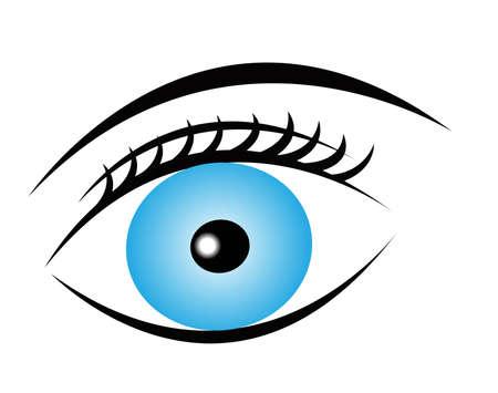 blauw pure oog met wimpers en wenkbrauwen op een witte achtergrond, vector oogpictogram Stock Illustratie