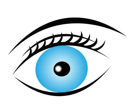 blue pure eye with eyelash and eyebrow on white background, vector eye icon Imagens - 23115025