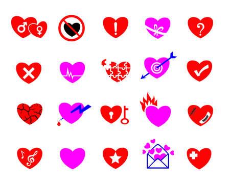 lovelorn: colorful heart concept icon set, happy,sad, love, smart, painful, heartbroken,  lovelorn, suffering