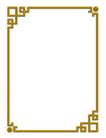 3D vector of beautiful golden frame chinese pattern for text and picture Imagens - 23115028