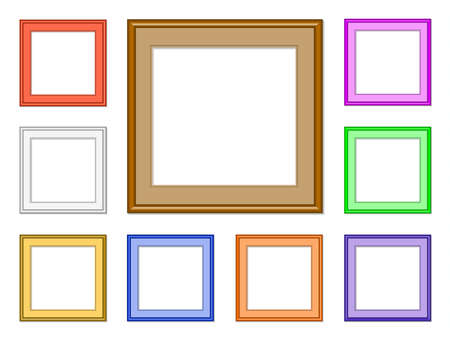 9 colorful square frames for collection image, picture, gallery or for web design Vector
