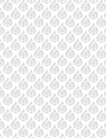 beautiful gray Thai pattern seem floral, fern, leave, lotus and fire pattern on white background for page and ground-paper