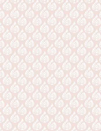 seem: beautiful whiteThai pattern seem floral, fern, leaves, lotus and fire pattern on pink background for page and ground-paper Illustration
