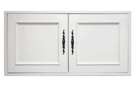 wooden furniture: beautiful white wooden door of modern cupboard on white background