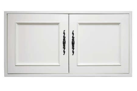 muebles de madera: hermosa puerta de madera blanca del armario moderno en el fondo blanco Foto de archivo