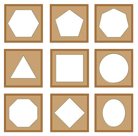 heptagon: modern style of edge and circle frames, Hexagon, octagon, pentagonal, square, oval, heptagon, vector set