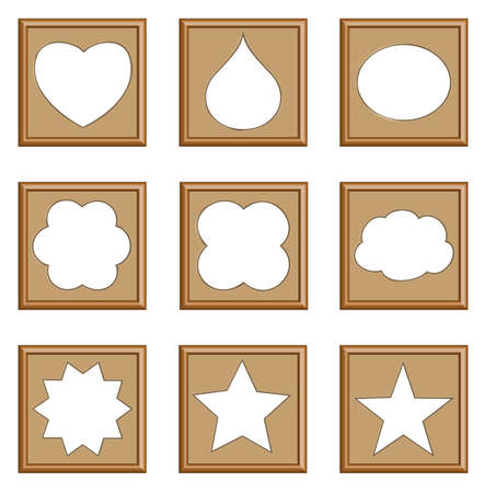 modern style frames of star, heart, drop, oval, cloud for gallery collection, vector set Vector