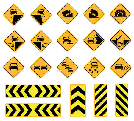 steep cliffs sign: road signs, traffic signs, caution sign, vector set