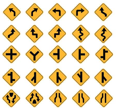 黄色の道路標識、交通標識ベクトル白い背景のセット