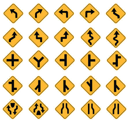 yellow road signs, traffic signs vector set on white background Vector