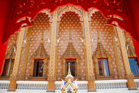 beautiful arch, pole and windows of Wat Pailom temple, Nakhonpathom, Thailand