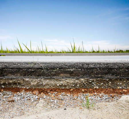 asphalt layer road with meadow and blue sky photo