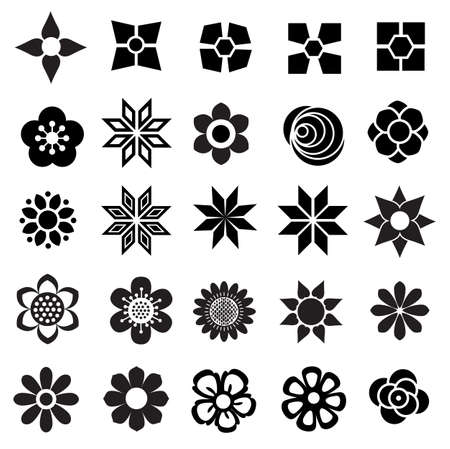 flower vector set, flowers icon