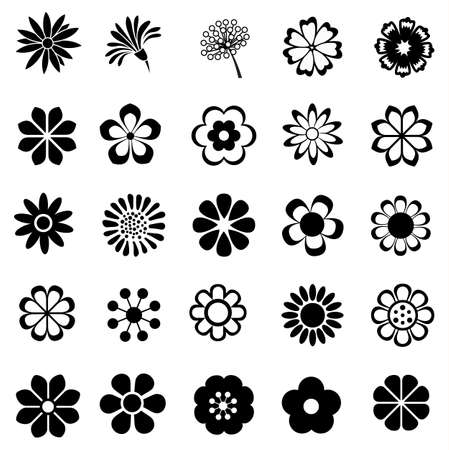 꽃 벡터 세트, 꽃 아이콘